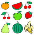 doodle of various fruit colorful collection vector image