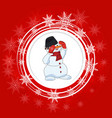 bright christmas backgroundsnowman white circles vector image