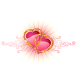 Two love hearts valentine and wedding vector image