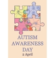 Autism awareness day background vintage vector image