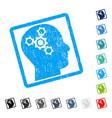 brain mechanics icon rubber watermark vector image
