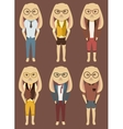 Cartoon set of cute rabbits in hipster style vector image