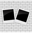 Instant Photos on Grunge Brick Background vector image