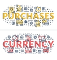 Purchases and Currency headings titles vector image
