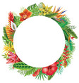 round frame from tropical plants vector image