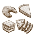 set of croissant cake pastry and creeps vector image