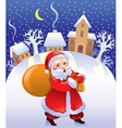 Christmas Santa with bag of gifts vector image vector image