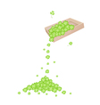 Four Leaf Clovers Dropped from A Wooden Container vector image vector image