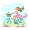 Girl on the bike vector image vector image