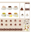 Set with different cups with tea and coffee vector image