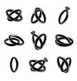 Wedding rings black icons vector image