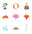 Symbols of Japan icons set cartoon style vector image