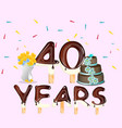40th anniversary celebration design card vector image