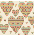 Cartoon hearts seamless pattern Tribal style vector image