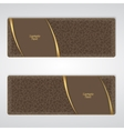 Elegant brown leather horizontal banner with two vector image