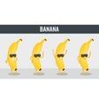 Banana Funny cartoon fruits Organic food vector image