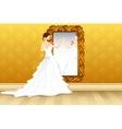 Bride in front of Mirror vector image