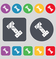 domino icon sign A set of 12 colored buttons Flat vector image