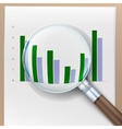 Growth histogram behind a magnifying glass vector image