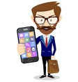 Handsome bearded businessman in formal suit vector image