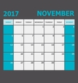 November 2017 November calendar week starts on vector image