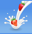 strawberry and milk pouring with splash milkshake vector image