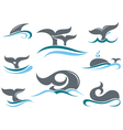 Whale tail icons vector image
