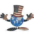 Earth with American hat and hands vector image