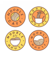Set of food badges Noodle cafe noodles vector image