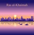 ras al-khaimah silhouette on sunset background vector image