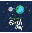 Earth globe high five with moon cartoon vector image