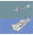 Military Jets And Warship vector image