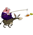pig on a donkey vector image