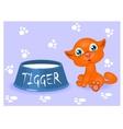 red kitten with milk vector image