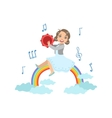 Girl Playing Tambourine With Rainbow And Clouds vector image