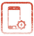 smartphone power options gear framed textured icon vector image