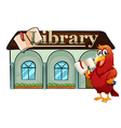 A parrot holding a book outside the library vector image vector image