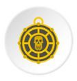 human skull aztec medallion icon circle vector image