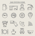16 fuel station line icons Monochrome color vector image