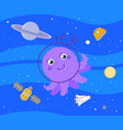 cute cartoon alien in outer space vector image vector image