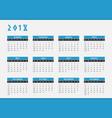 2018 year calendar horizontal design vector image