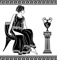 Ancient Greek woman sitting on a chair vector image