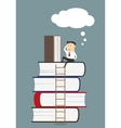 Businessman sitting and reading books vector image vector image