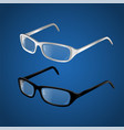 black and white glasses - modern realistic vector image