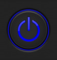 black power button with blue backlight vector image