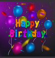 happy birthday card template with a purple vector image