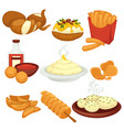 potato food dishes snacks and cooked products vector image