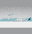 snowfall in airport vector image