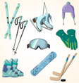 winter sports equipment icons collection vector image