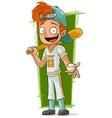 Cartoon young baseball player with bat vector image